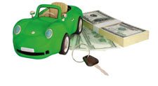 Green colored car, stack of cash and a car key